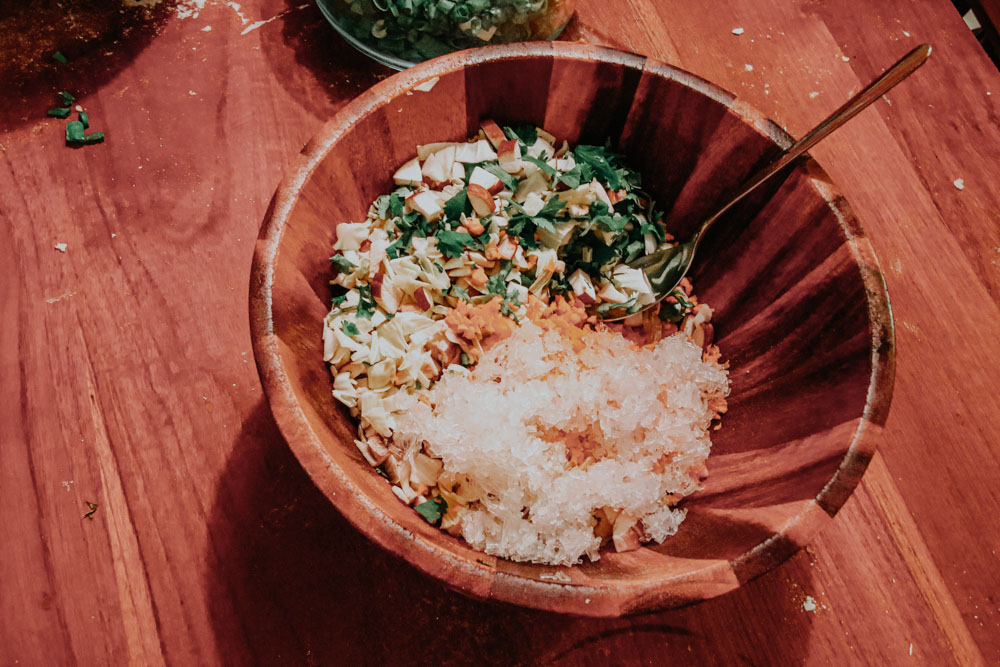 Füllung für die Dumplings in Jodie's Kitchen in Taipeh