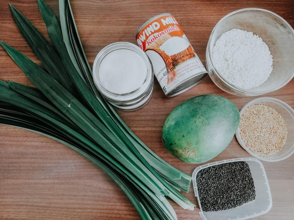 Zutaten für original thailändischen Mango Sticky Rice