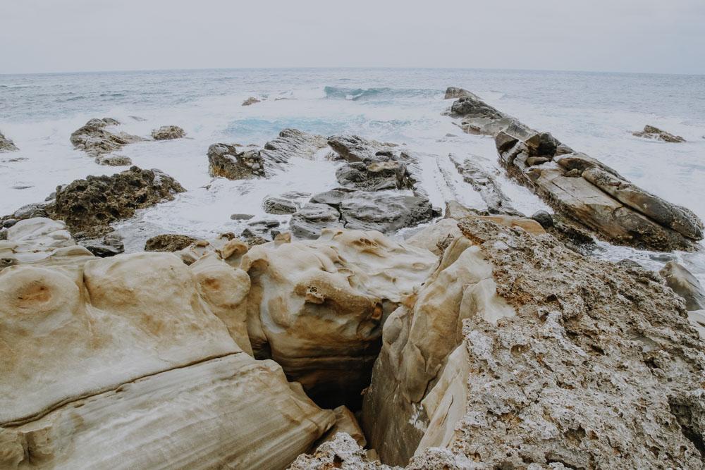 Gesteinsformationen in Xiaoyeliu an der taiwanesischen Ostküste