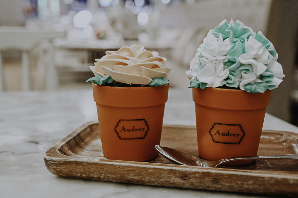 Flower Pot Cakes im Petite Audrey Cafè